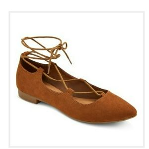 Mossimo Supply Co Brown Lace Up Flats